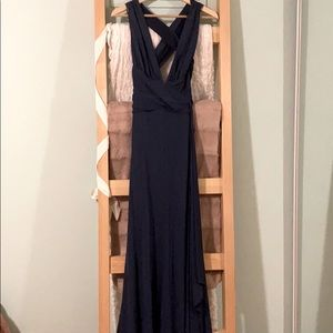 Backless navy plunge gown